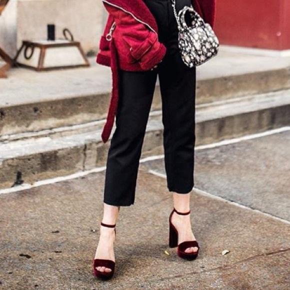 Shoes - Burgundy velvet heels